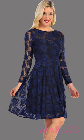 Short Navy Floral Lace Long Sleeve Dress