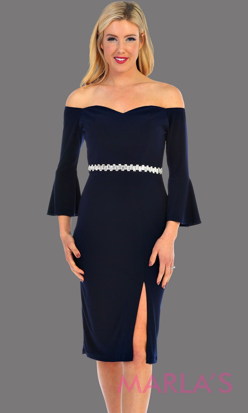Short Navy Long Sleeve Off Shoulder Dress With Slit