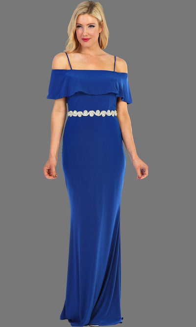 Long Off Shoulder Dress With Jewel Belt