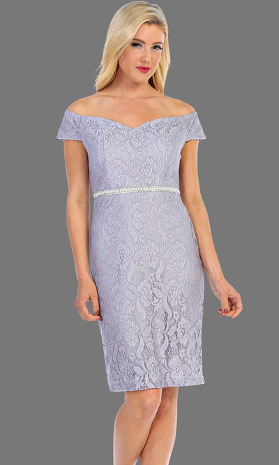 Short Off Shoulder Lace Dress With Jewel Belt