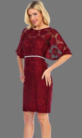 Short Burgundy Lace Overlay Dress With Jewel Belt