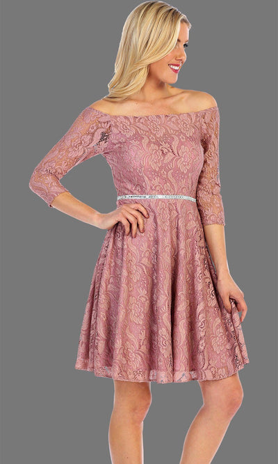 Short Off Shoulder Long Sleeve Lace Dress