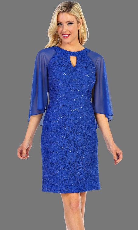 Short Royal Blue Lace Dress With Chiffon Sleeves