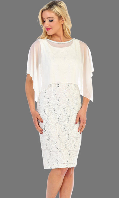 Short Lace Dress With Chiffon Overlay
