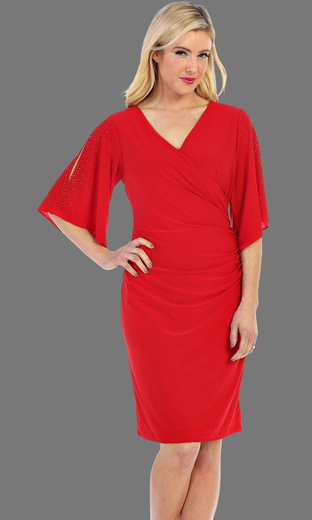Short Red Wrap Dress With Flowy Sleeves