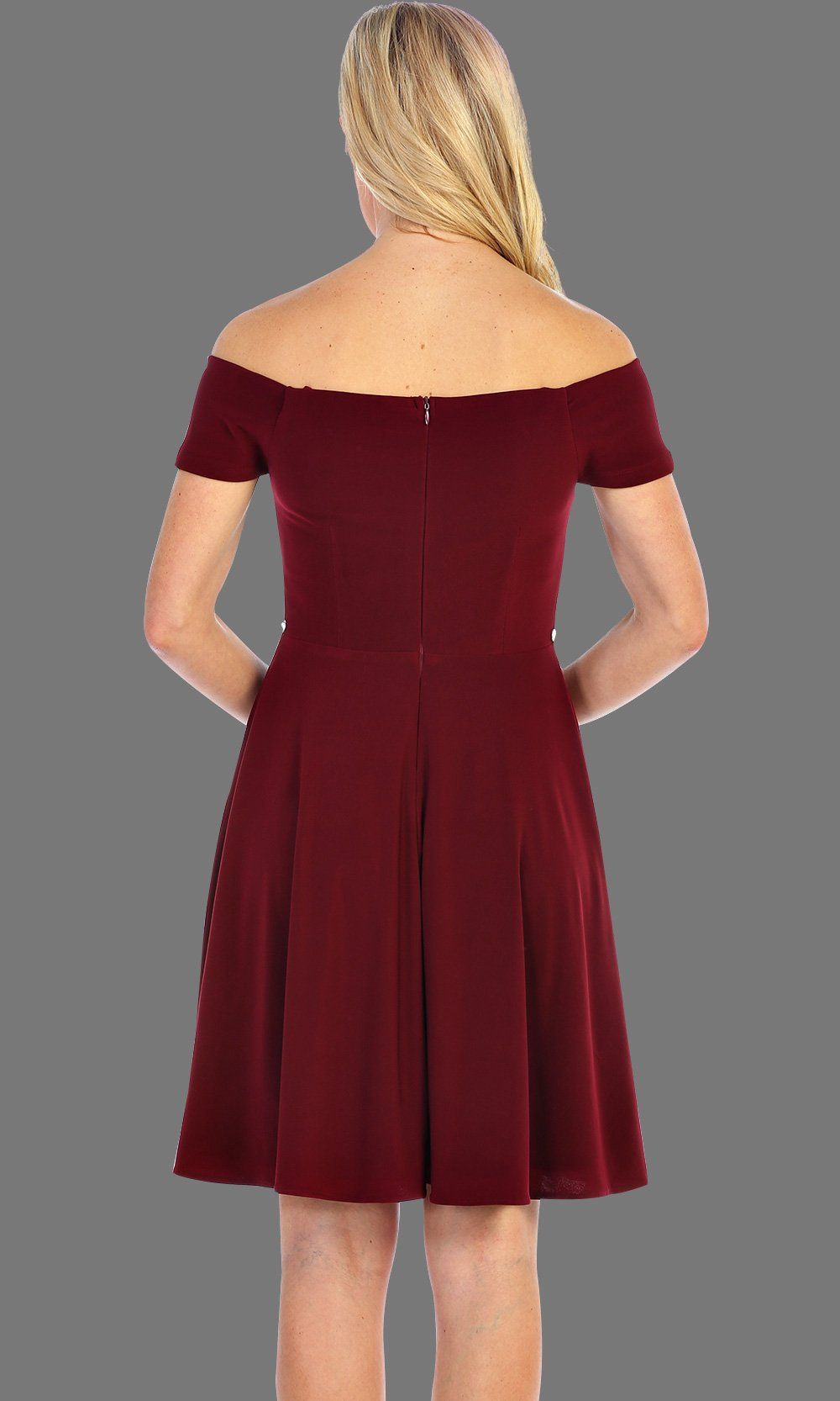 Short Burgundy Simple Off Shoulder Dress With Jewel Belt