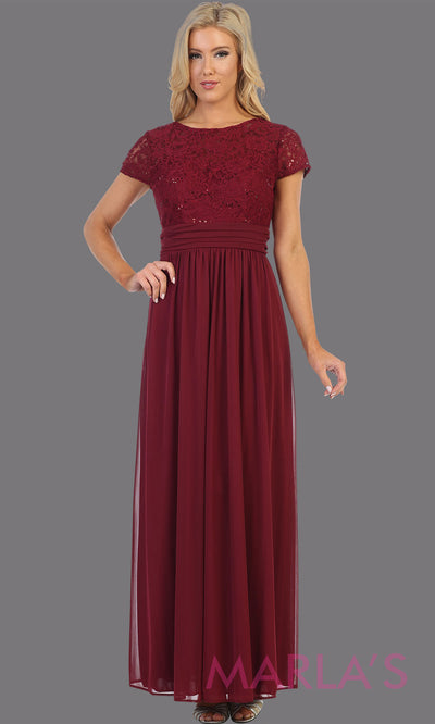 Long burgundy red short sleeve modest dress. Perfect as muslim dress, mother of the bride, sleeve flowy lace dress, modest prom dress, arab prom dress, maroon indowestern lace dark red gown. Plus Sizes available