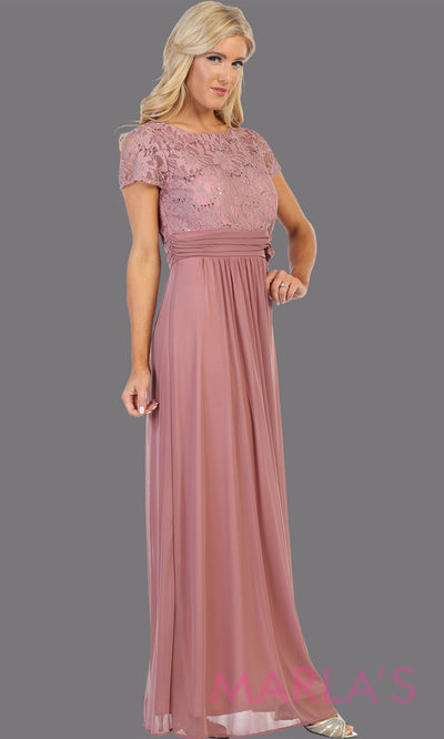 Long mauve pink short sleeve modest dress. Perfect as muslim dress, mother of the bride, sleeve flowy lace dress, modest prom dress, arab prom dress, light pink indowestern lace pink gown. Plus Sizes available