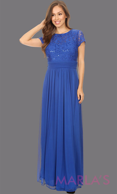 Long royal blue short sleeve modest dress. Perfect as muslim dress, mother of the bride, sleeve flowy lace dress, modest prom dress, arab prom dress, royal blue indowestern lace blue gown. Plus Sizes available