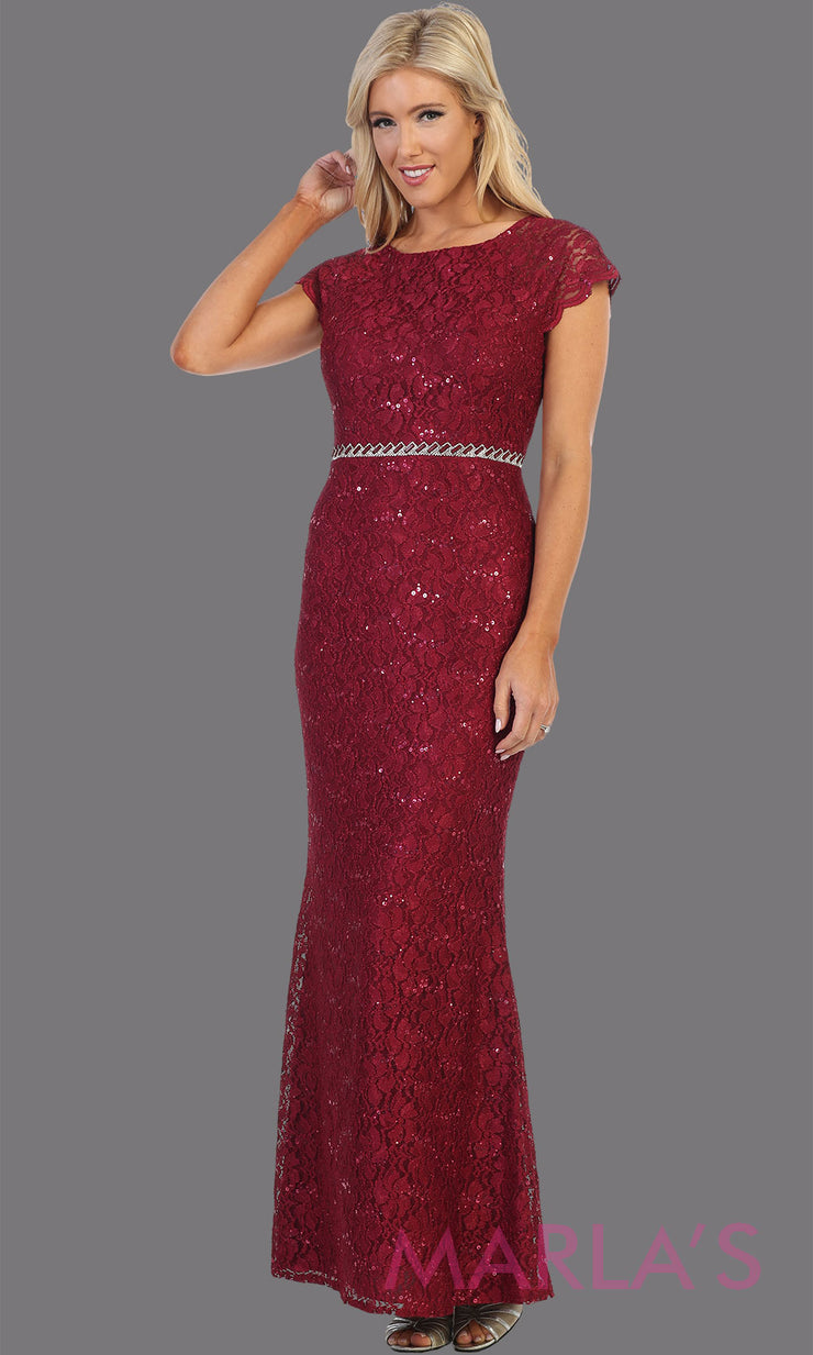 Long burgundy red short sleeve modest dress. Perfect as muslim dress, mother of the bride, sleeve fItted lace dress, modest prom dress, arab prom dress, dark red indowestern lace maroon gown. Plus Sizes available