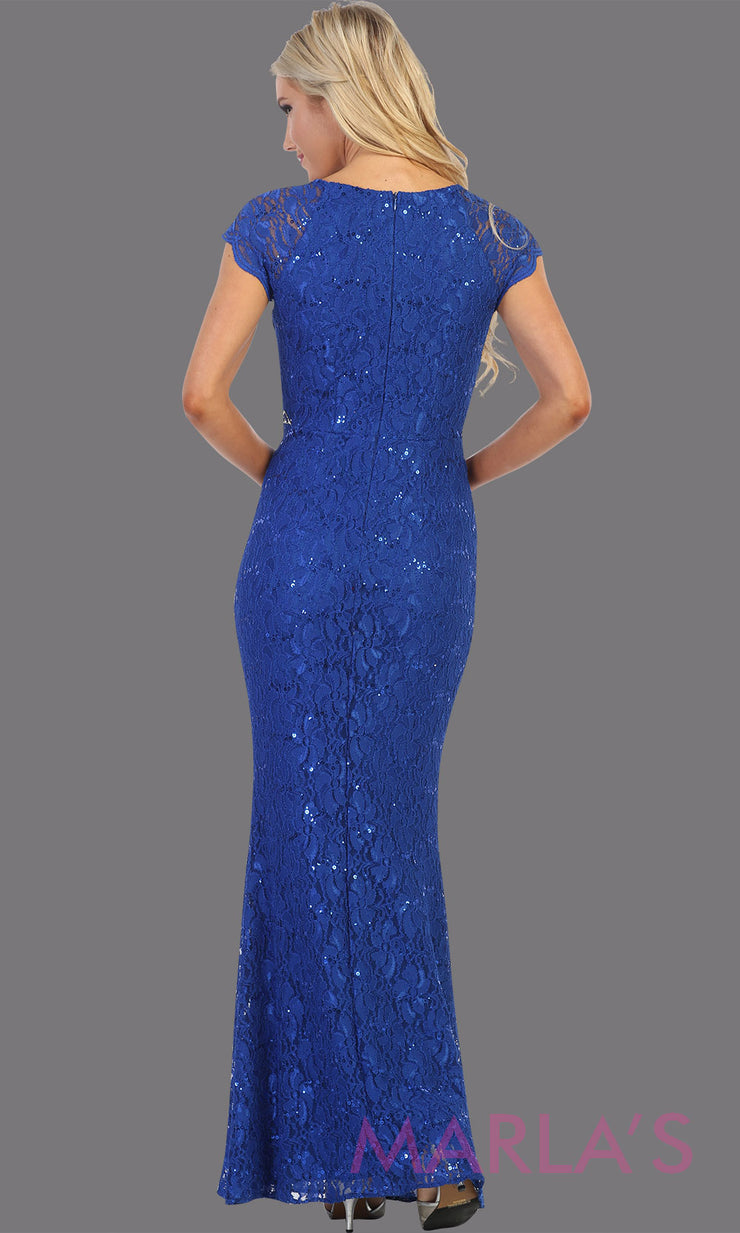 Back of Long royal blue short sleeve modest dress. Perfect as muslim dress, mother of the bride, sleeve fItted lace dress, modest prom dress, arab prom dress, royal blue indowestern lace blue gown. Plus Sizes available