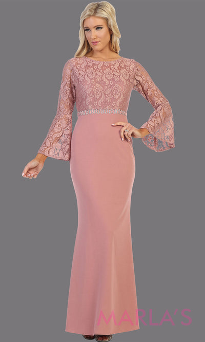 Long mauve long sleeve lace modest dress. Perfect as muslim dress, mother of the bride, full length sleeve slim fitted lace dress, dusty rose modest prom dress, arab prom dress, indowestern lace pink gown. Plus Sizes available