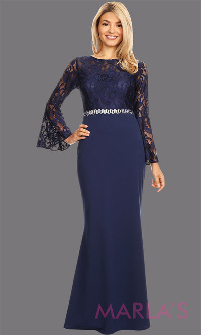 Long navy blue long sleeve lace modest dress. Perfect as muslim dress, mother of the bride, full length sleeve slim fitted lace dress, dark blue modest prom dress, arab prom dress, indowestern lace navy gown. Plus Sizes available