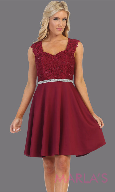 Short burgundy red v neck lace grade 8 grad dress. Flowy dark red lace dress perfect for grad, graduation, wedding guest dress, simple short party dress, maroon cocktail dress, confirmation dress, prom date. Plus sizes avail