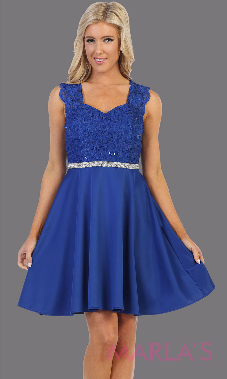 Short royal blue v neck lace grade 8 grad dress. Flowy royal blue lace dress perfect for grad, graduation, wedding guest dress, simple short party dress, blue cocktail dress, confirmation dress, prom date. Plus sizes avail