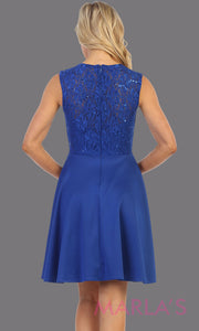 Back of Short royal blue v neck lace grade 8 grad dress. Flowy royal blue lace dress perfect for grad, graduation, wedding guest dress, simple short party dress, blue cocktail dress, confirmation dress, prom date. Plus sizes avail