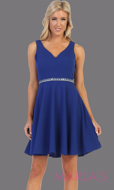 Short royal blue v neck lace grade 8 grad dress. Flowy royal blue dress perfect for grad, graduation, wedding guest dress, simple short party dress, blue cocktail dress, confirmation dress, prom date. Plus sizes avail