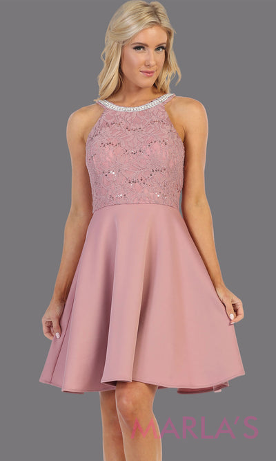 Short mauve pink high neck lace grade 8 grad dress. Flowy pink lace dress perfect for grad, graduation, wedding guest dress, simple short party dress, light pink cocktail dress, confirmation dress, prom date. Plus sizes avail