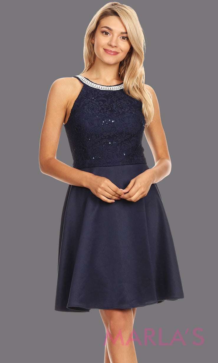 Short navy blue high neck lace grade 8 grad dress. Flowy blue lace dress perfect for grad, graduation, wedding guest dress, simple short party dress, dark blue cocktail dress, confirmation dress, prom date. Plus sizes avail