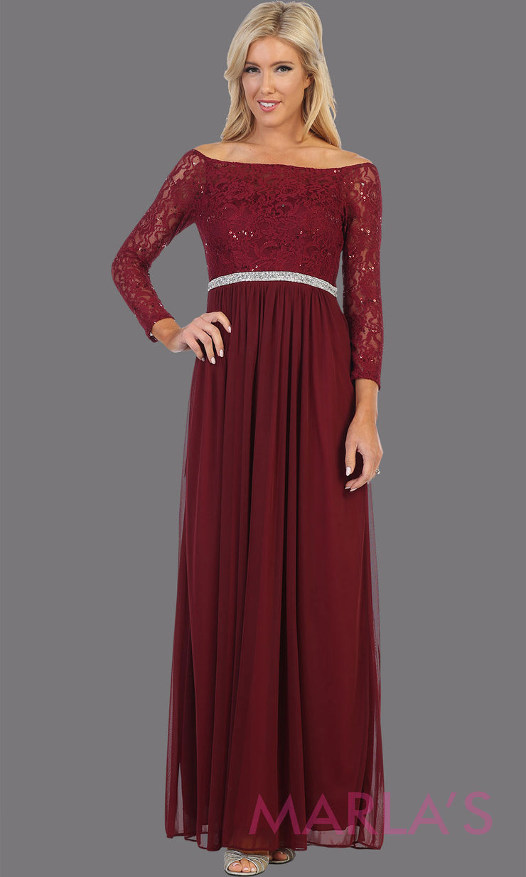 Long burgundy red long sleeve modest dress. Perfect as muslim dress, mother of the bride, full length sleeve fitted lace dress, modest prom dress, maroon arab prom dress, indowestern lace dark red off shoulder gown. Plus Sizes available