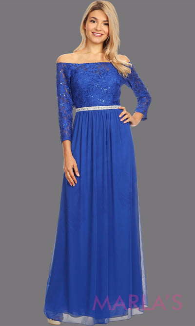 Long royal blue long sleeve modest dress. Perfect as muslim dress, mother of the bride, full length sleeve fitted lace dress, modest prom dress, light royal blue arab prom dress, indowestern lace blue off shoulder gown. Plus Sizes available