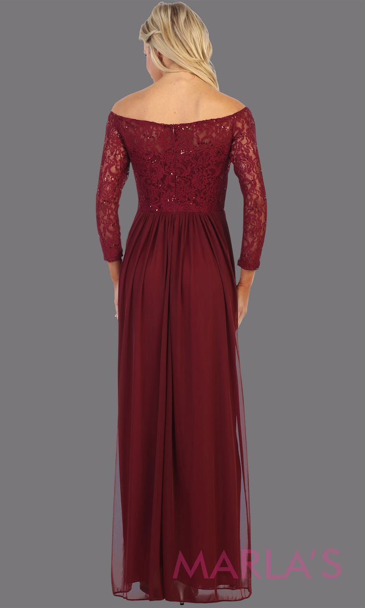 Back of Long burgundy red long sleeve modest dress. Perfect as muslim dress, mother of the bride, full length sleeve fitted lace dress, modest prom dress, maroon arab prom dress, indowestern lace dark red off shoulder gown. Plus Sizes available