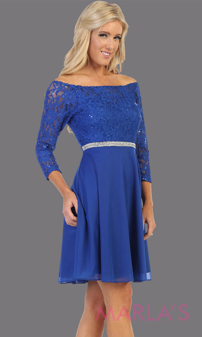 Short royal blue off shoulder lace grade 8 grad dress. Flowy royal blue lace dress perfect for grad, graduation, wedding guest dress, simple short party dress, blue cocktail dress, confirmation dress, prom date. Plus sizes avail