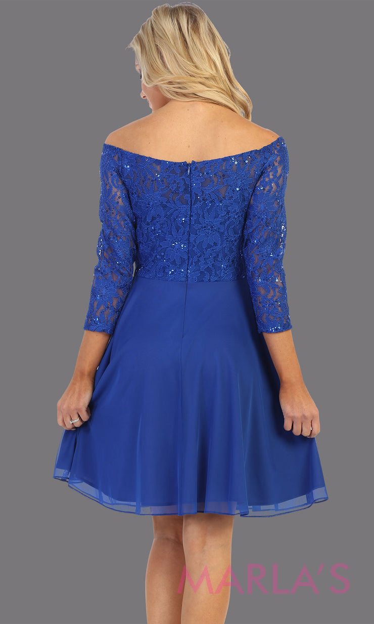 Back of Short royal blue off shoulder lace grade 8 grad dress. Flowy royal blue lace dress perfect for grad, graduation, wedding guest dress, simple short party dress, blue cocktail dress, confirmation dress, prom date. Plus sizes avail