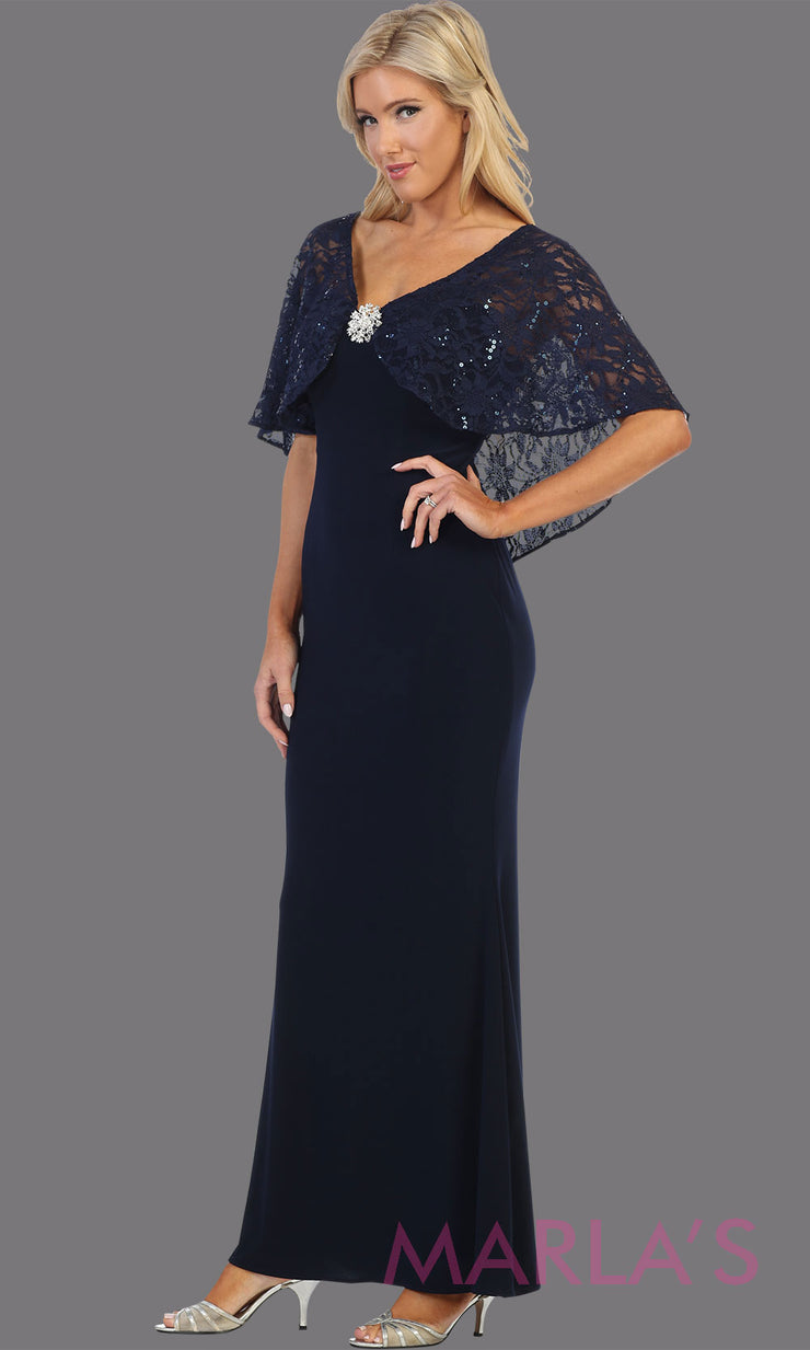 Long navy blue short sleeve modest dress. Perfect as muslim dress, mother of the bride, sleeve flowy lace dress, modest prom dress, arab prom dress, dark blue indowestern lace navy gown. Plus Sizes available