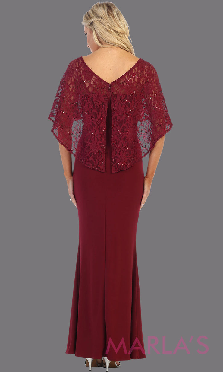 Back of Long burgundy red short sleeve modest dress. Perfect as muslim dress, mother of the bride, sleeve flowy lace dress, modest prom dress, arab prom dress, dark red indowestern lace maroon gown. Plus Sizes available