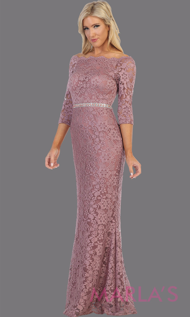 Long mauve pink long sleeve modest dress. Perfect as muslim dress, mother of the bride, full length sleeve fitted lace dress, modest prom dress, light dusty rose arab prom dress, indowestern lace pink off shoulder gown. Plus Sizes available