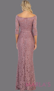 Back of Long mauve pink long sleeve modest dress. Perfect as muslim dress, mother of the bride, full length sleeve fitted lace dress, modest prom dress, light dusty rose arab prom dress, indowestern lace pink off shoulder gown. Plus Sizes available