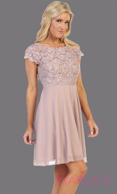 Short mocha short sleeve modest dress. Perfect as mother of the bride, sleeve flowy lace dress, confirmation, grade 8 grad, graduation, church dress, modest wedding guest dress. Simple cocktail dress, office party dress. Plus Sizes available