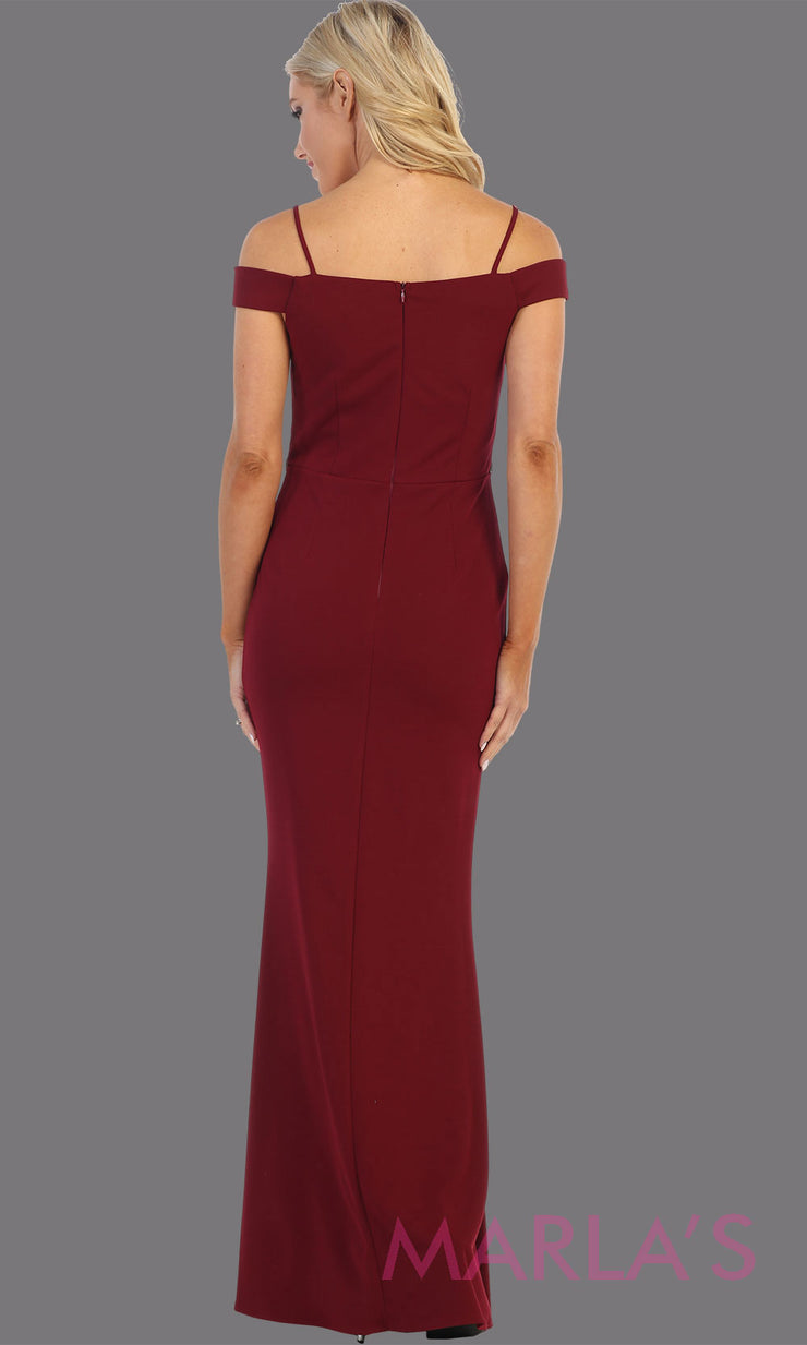 Back of Long burgundy red fitted off shoulder evening dress.This simple sleek & sexy gown is perfect as a dark red prom dress, simple formal wedding guest dress, indowestern party gown, engagement dress, maroon bridesmaid dresses.Plus sizes available