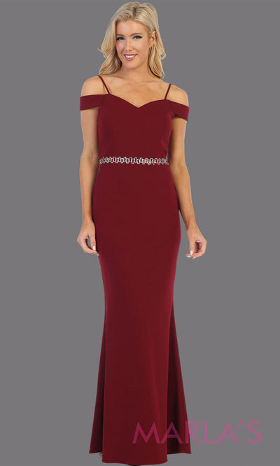 Long burgundy red fitted off shoulder evening dress.This simple sleek & sexy gown is perfect as a dark red prom dress, simple formal wedding guest dress, indowestern party gown, engagement dress, maroon bridesmaid dresses.Plus sizes available