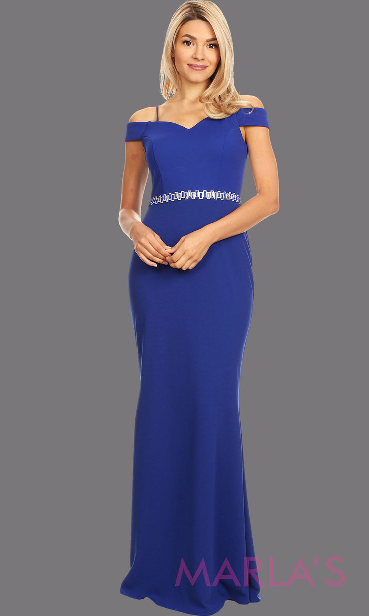 Long royal blue fitted off shoulder evening dress.This simple sleek & sexy gown is perfect as a royal  blue prom dress,simple formal wedding guest dress, indowestern party gown, engagement dress, maroon bridesmaid dresses.Plus sizes available