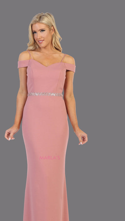 Long mauve pink fitted off shoulder evening dress.This simple sleek & sexy gown is perfect as a pink prom dress, simple formal wedding guest dress, indowestern party gown, engagement dress, bridesmaid dresses. Plus sizes available