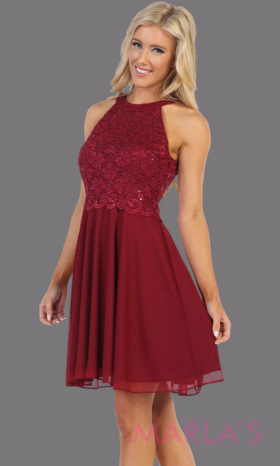 Short burgundy red high neck grade 8 grad dress. Flowy dark red simple dress perfect for grad, graduation, plain wedding guest dress, simple short party dress, maroon cocktail dress, confirmation dress, prom date. Plus sizes avail