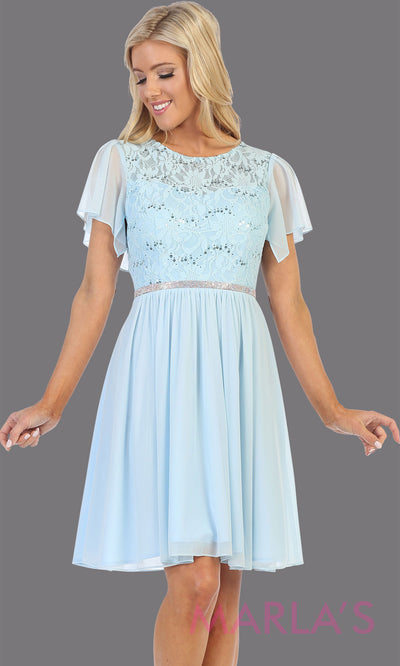 Short mint short sleeve modest dress. Perfect as mother of the bride, sleeve flowy lace dress, confirmation, grade 8 grad, graduation, church dress, modest wedding guest dress. Simple cocktail dress, office party dress. Plus Sizes available
