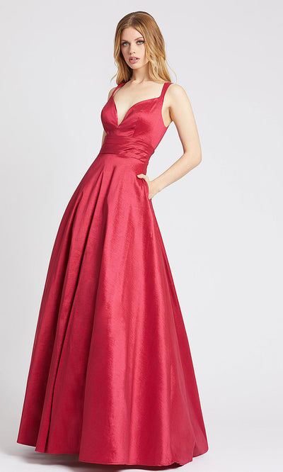 Mac Duggal - 65514L V Neck Scoop Back Shiny Satin Ballgown In Burgundy
