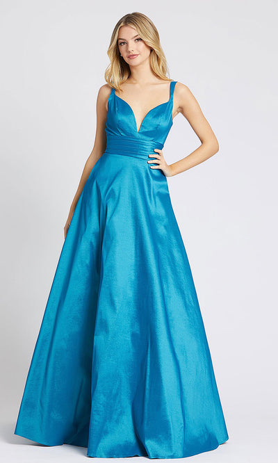 Mac Duggal - 65514L V Neck Scoop Back Shiny Satin Ballgown In Blue