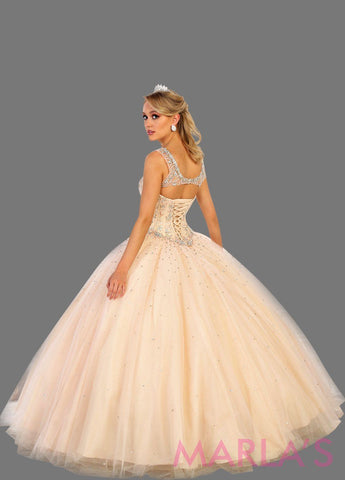 Back of Long blush pink princess quinceanera ball gown with rhinestone beading and straps. Perfect for light pink Engagement dress, Quinceanera, Sweet 16, Sweet 15 and pink Wedding Reception Dress, Debut. Available in plus sizes