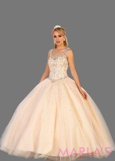 Long blush pink princess quinceanera ball gown with rhinestone beading and straps. Perfect for light pink Engagement dress, Quinceanera, Sweet 16, Sweet 15 and pink Wedding Reception Dress, Debut. Available in plus sizes