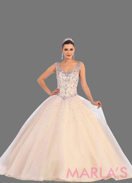 Long blush princess quinceanera ball gown with lilac rhinestone beading and straps. Perfect for light pink Engagement dress, Quinceanera, Sweet 16, Sweet 15 and pink Wedding Reception Dress, Debut. Available in plus sizes