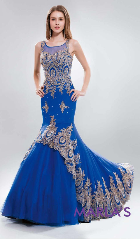 * Royal Blue Long Mermaid Dress with Gold Lace at Bottom