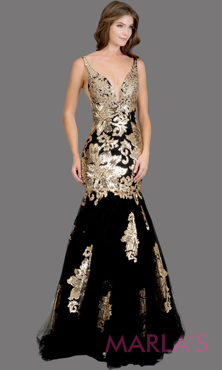 Long black fitted mermaid evening gown with contrast gold lace. This v neck evening gown is perfect as black prom dress, wedding reception or engagement dress, formal wedding guest dress, indowestern formal evening party gown.Plus sizes avail