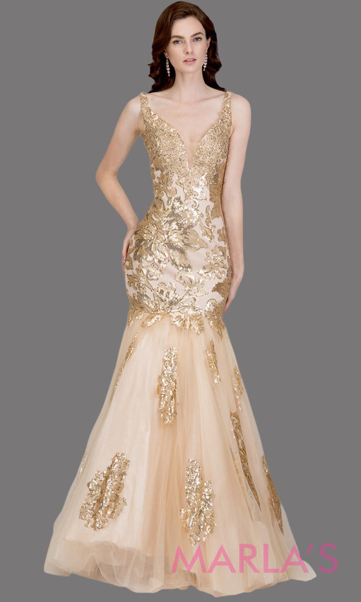 Long champagne fitted mermaid evening gown with contrast gold lace. This v neck evening gown is perfect as gold prom dress, wedding reception or engagement dress, formal wedding guest dress,gold indowestern formal evening gown.Plus sizes avail