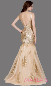 Back of Long champagne fitted mermaid evening gown with contrast gold lace. This v neck evening gown is perfect as gold prom dress, wedding reception or engagement dress, formal wedding guest dress,gold indowestern formal evening gown.Plus sizes avail