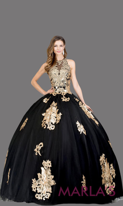 Long high neck black quinceanera ballgown w lace. This black ball gown can be worn for Sweet 16 Birthday, Sweet 15, Engagement Ball Gown, Wedding Reception Dress, Debut or 18th Birthday. Perfect black indowestern gown.Plus sizes Available