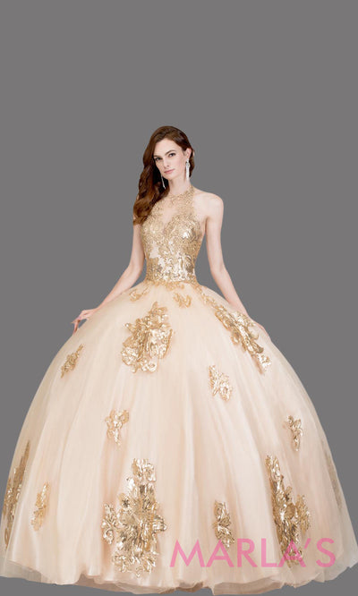 Long high neck gold quinceanera ballgown w lace. This champagne ball gown can be worn for Sweet 16 Birthday, Sweet 15, Engagement Ball Gown, Wedding Reception Dress, Debut or 18th Birthday. Perfect gold indowestern gown.Plus sizes Available